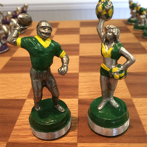 WM JMU Pewter Chess Set football cheer